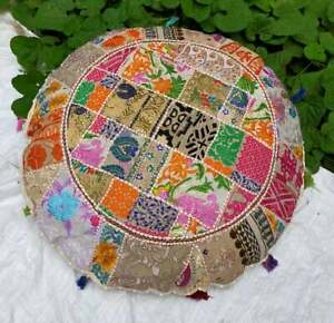 Indian Decorative Floor Cover White Round Patchwork Pillow Cushion Cover Throw
