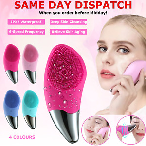 Electric Silicone Facial Cleansing Brush Face Skin Care Deep Cleaner Massager UK