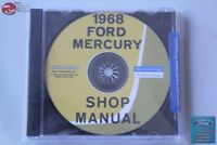 1968 Ford Mercury Shop repair Manual CD Rom Disc PDF New