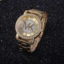 Fashion women men diamond crystal stainless steel wrist quartz watches