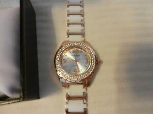 Akribos XXIV Women's AK514WTR Gold Tone Watch with Two-Tone Link Bracelet