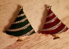 Pair of Vintage Eisenberg Rhinestone/Enamel GREEN RED Christmas Tree Brooch Pin