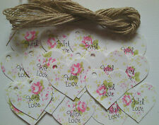 25 'With Love' Pink Rose Vintage Style Heart Tags, Wedding Favours