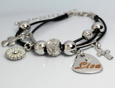 Genuine Braided Leather Charm Bracelet With Name - LISA - Gifts for her