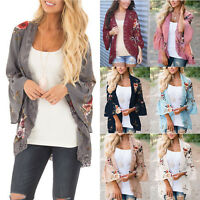 Womens Boho Floral Shawl Kimono Flare Sleeve Cardigan Cover Up Coat Plus Size