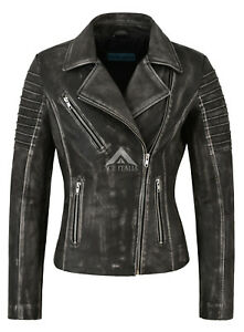 Ladies Leather Jacket Special Fashion Design Black Vintage Soft Biker Style 9334