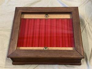 Handmade/Custom Solid Walnut Wood Fountain Pen Display Case/Box w/Glass -Holds 9