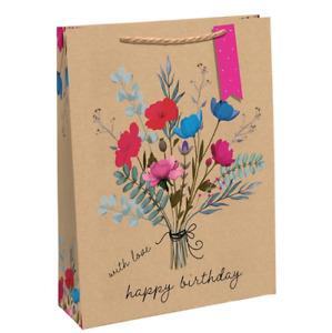 Happy Birthday Kraft Large Gift Bag - 27.5cm