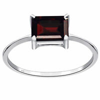 Red Garnet Gemstone 925 Sterling Silver Solitaire Ring For Women & Girls -3745