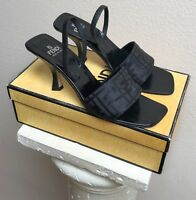 FENDI SCARPE High Heels, Black, ZUCCA MONOGRAM, EU 38, RARE, Perfect Condition!