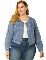 Women's Plus Size Long Sleeves Button Down Crew Neck Short Denim Jacket