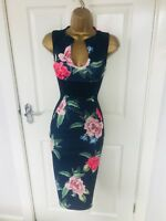 Navy Blue Floral Illusion Bodycon Evening Stretch Party Midi Wiggle Pencil Dress