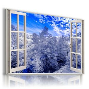 TREES FOREST WINTER MOUNTAINS SNOW 3D Window View Canvas Wall Art W672 MATAGA