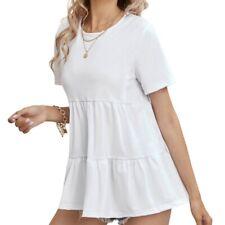Women Fashion 2021 Short Sleeve Ruffle Smock Top Blouse - Designed & Made in UK