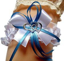 Strumpfband Braut weiß blau mit Schleife Herzchen Silbernaht