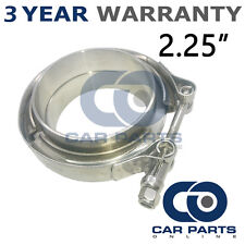 """V-BAND CLAMP + FLANGES COMPLETE STAINLESS STEEL EXHAUST TURBO HOSE 2.25"""" 57mm"""