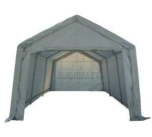 BIRCHTREE Garage Carport Shelter Car Port Canopy 3m x 6m Galvanised Frame White