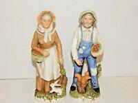 Set 2 Older Country Folk People Figurines HOME INTERIORS Porcelain Harvest Time