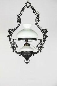 ANTIQUE VINTAGE ART NOUVEAU CEILING HANGING CHANDELIER LIGHT MILK GLASS LAMP