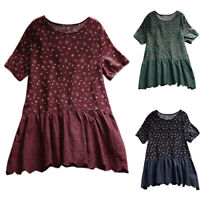 Womens Floral Loose T Shirt Short Sleeve Tunic Baggy Blouse Summer Top Plus Size