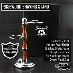 Men Shaving Brush Stands, Straight Razor + Safety Razors Stand Wooden & Steel