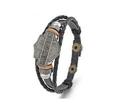 bracelet cuir noir de 18 a  20cm harley ,perles aléatoire alliage de zinc