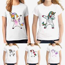 Summer Women Fashion Casual Unicorn T-Shirt Short Sleeve Loose Blouse Tops