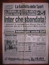 LA GAZZETTA DELLO SPORT 24/11/1983  Austria Vienna 2  Inter 1  Coppa UEFA