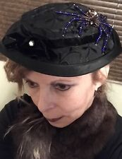 Vintage costume Hat With Hand Beaded Spider.