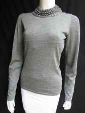 New Oscar De La Renta Women Cashmere Braided Turtle Neck Gray Sweater Knit Large