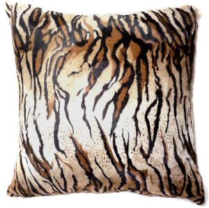 Ff17a Faux Fur Brown Black Tiger Skin Print Cushion Cover/Pillow Case*Custom Siz