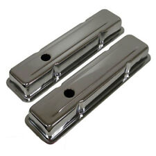CHEVY SMALL BLOCK VALVE COVERS SHORT CHROME STEEL BAFFLED 283 305 327 350 400