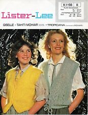 """~ Vintage 1970's Knitting Pattern For Lady's Mohair Waistcoats ~ 30/38"""" & 32/42"""""""
