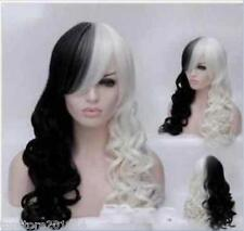 Women Cruella Deville Cosplay Wig Black White Synthetic Long Curly Wigs