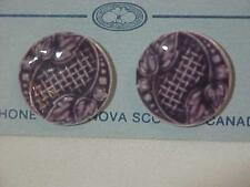 Birdsall Worthington Pottery Canada Earrings Vintage on Card Brown & White