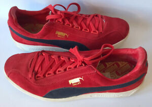 Puma Dallas 1899 Red Suede Trainers Lace Ups Men's UK Size: 9