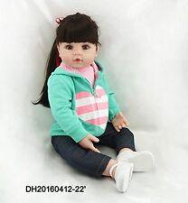 "22"" Long Hair Realistic Reborn Baby Doll Silicone Vinyl Dolls Lifelike Toddler"