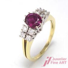 Ring 1 Rubin ca. 1,5 ct + 8 Diamanten ca. 0,7 ct TW/VS 14K GG/WG - 4,6 g - Gr.59