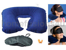 3 IN 1 TRAVEL INFLATABLE NECK AIR CUSHION U PILLOW WITH EYE MASK 2 EAR PLUG SET