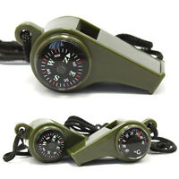 Camping 3 in1 Outdoor Hiking Emergency Survival Gear Whistle Compass Thermometer