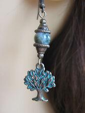 Bronze-tone Tree of Life Earrings Tree Agate Gemstone Beads  Pagan Hedgewitch