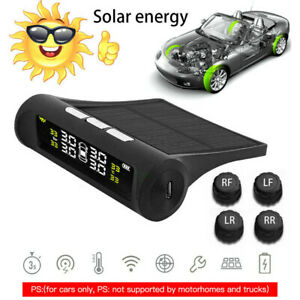 Tire pressure monitoring system 4 solar sensors wireless TPMS real-time car tire