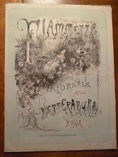 FIAMMETTA GIORNALE DI LETTERATURA ROMA 1881 nr. 1 Tipografia Elzeviriana Rara