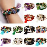 Charm Multilayer Stretch Natural Boho Stone Bracelet Women Tassel Bangle Jewelry