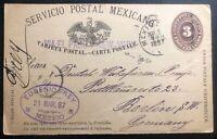1887 Mexico City Mexico Postal Stationery postcard cover Berlin Germany