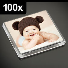 More details for 100x clear acrylic blank fridge magnets 58 x 58 mm square size photo