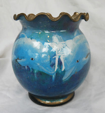 A Touch of Glass - Stunning Hand Made Dolphin and Fairy Design Glass Pot