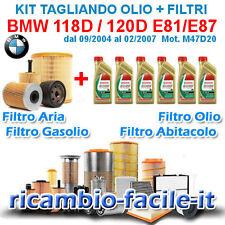 KIT TAGLIANDO BMW 118D 120D E81 E87 FILTRI + OLIO CASTROL 5W30 DAL 2004 AL 2007