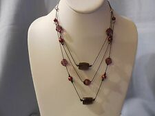 BEAUTIFUL MULTI-STRAND NECKLACE GUNMETAL CHAINS & PURPLE BEADS