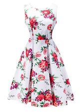 Summer Women Floral Print Sleeveless Evening Party Cocktail  Mini Dress -6L